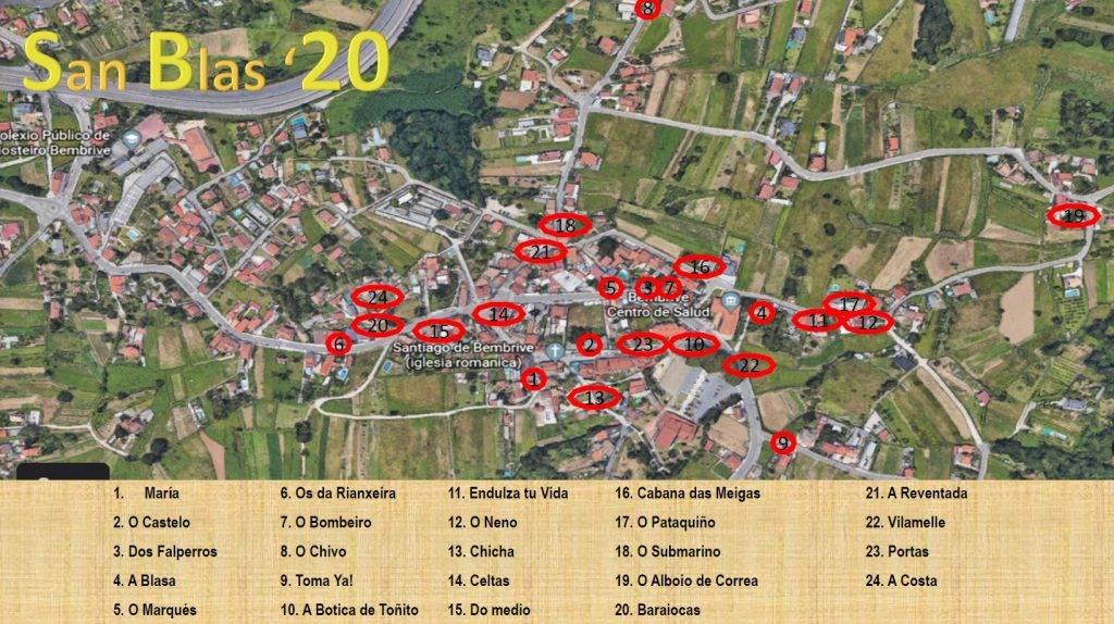 Plano de los furanchos de la Fiesta de San Blas de Bembrive.