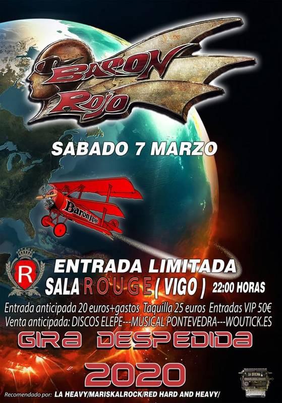 Cartel del Concierto Barón Rojo en Vigo